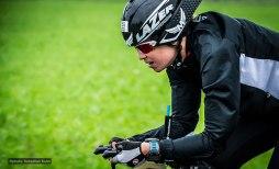 Madison McKenzie on a cold rainy bike course